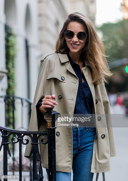 79842dde German fashion blogger and model Alexandra Lapp wearing a trench cape from  SET Levis denim jeans