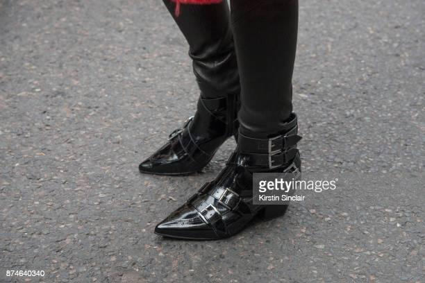 German fashion blogger Caroline Daur wears Ash boots and OffWhite trousers day 4 of Paris Womens Fashion Week Spring/Summer 2018 on September 29 2017...