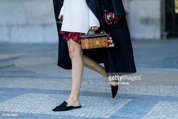 German fashion blogger Lisa Hahnbueck wearing Anya Hindmarch Oversize Coat HM Trend Knitdress Storets Metallic Plissee Skirt Alberta Ferretti Velvet...