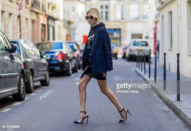 German fashion blogger Lisa Hahnbueck wearing blazer Tweed Blazer MSGM hoodie Justin Bieber Purpose Tour Merchandise Sweatshirt Skirt Patent...
