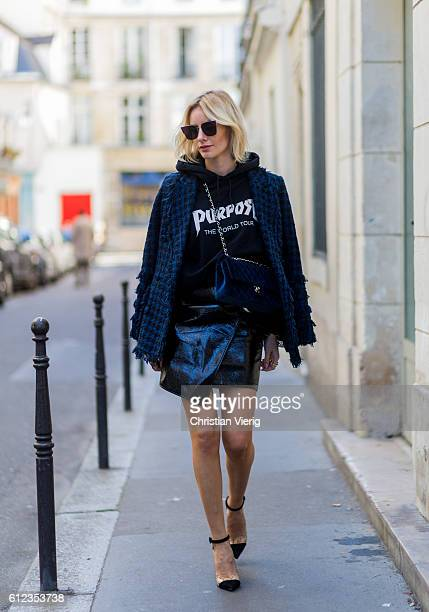 German fashion blogger Lisa Hahnbueck wearing blazer Tweed Blazer MSGM hoodie Justin Bieber Purpose Tour Merchandise Sweatshirt Skirt Patent...