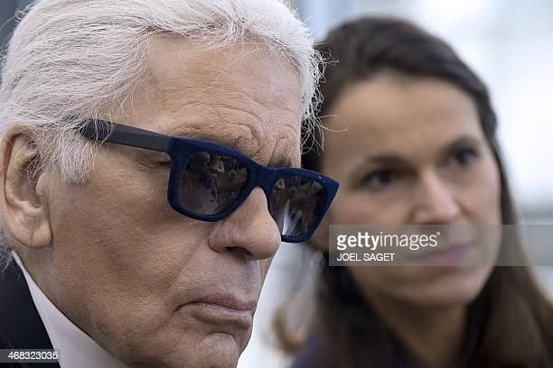German fashion designer and Creative Director of French fashion house Chanel Karl Lagerfeld and French Minister of Culture and Communication Aurelie...