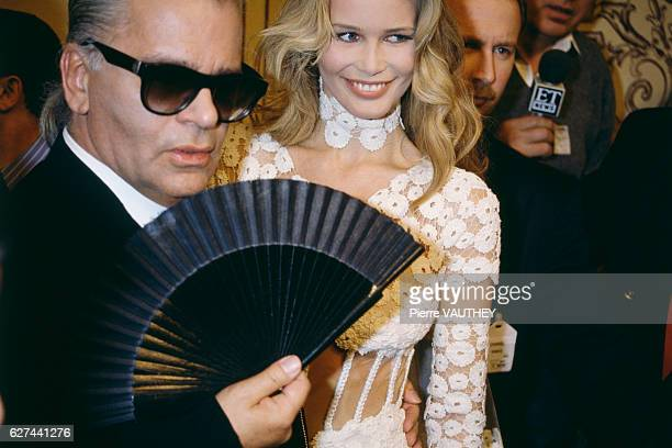 German fashion designer and photographer Karl Lagerfeld with model Claudia Schiffer