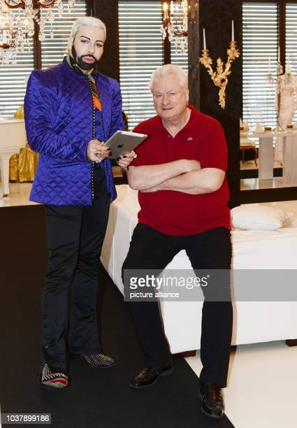 DPA EXKLUSIVE German fashion designer Harald Gloeoeckler and his partner Dieter Schroth pose in their penthouse apartment in Berlin Germany 28...