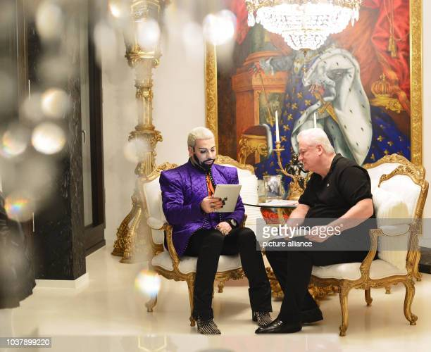 DPA EXKLUSIVE German fashion designer Harald Gloeoeckler and his partner Dieter Schroth talk in their penthouse apartment in Berlin Germany 28...