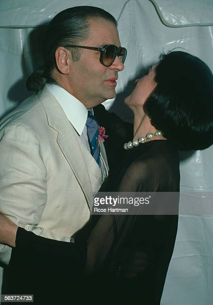 German fashion designer Karl Lagerfeld and French fashion designer and businesswoman Paloma Picasso, New York City, circa 1986.