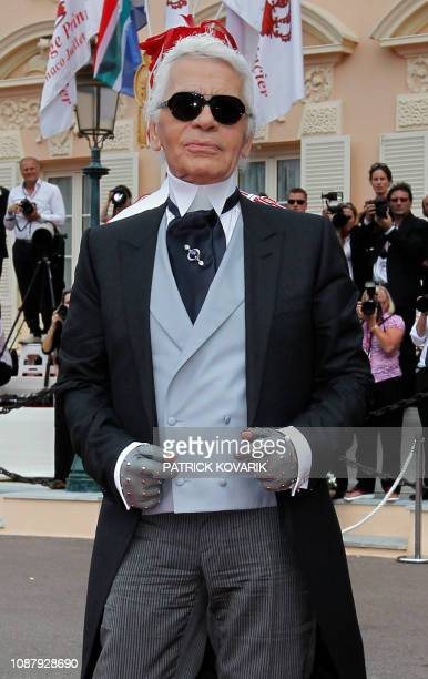 German fashion designer Karl Lagerfeld arrives for the religious wedding of Prince Albert II of Monaco and Princess Charlene of Monaco at the...
