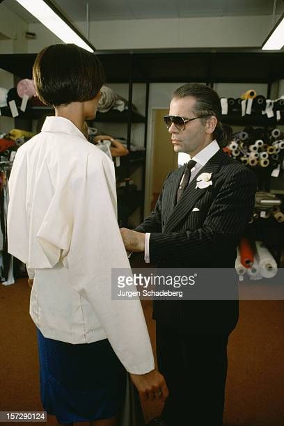 German fashion designer Karl Lagerfeld at work 1984