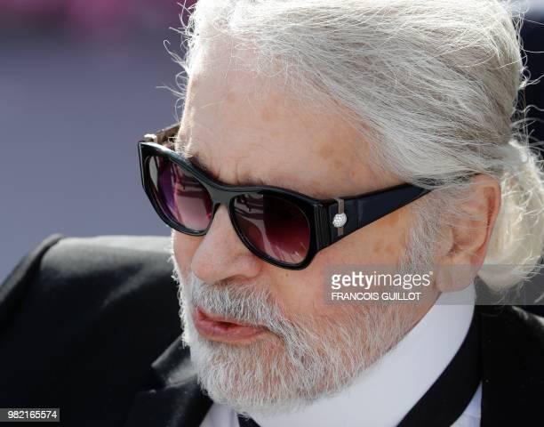 German fashion designer Karl Lagerfeld attends the Dior Men's Spring/Summer 2019 fashion show on June 23 2018 in Paris
