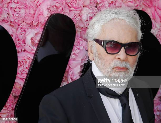 German fashion designer Karl Lagerfeld attends the Dior Men's Spring/Summer 2019 fashion show on June 23 2018 in Paris