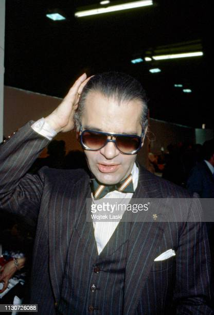German fashion designer Karl Lagerfeld during the presentation of his new collection, France, October 1984.