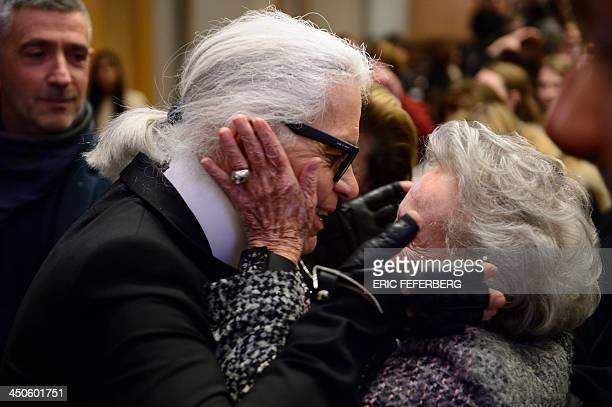 German fashion designer Karl Lagerfeld meets Eliane Heilbronn mother of the main Chanel shareholder at the Institute of Political Studies or Sciences...