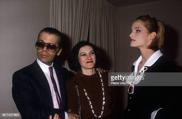 German fashion designer Karl Lagerfeld with designer Paloma Picasso and a fashion model at the Chanel SpringSummer 1983 fashion show in Paris...
