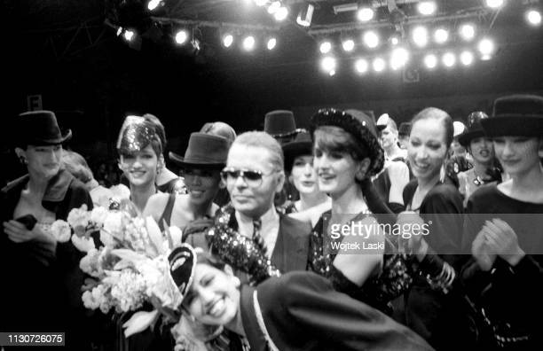 German fashion designer Karl Lagerfeld with fashion models during the presentation of his fall/winter 1984 collection France 27th March 1984