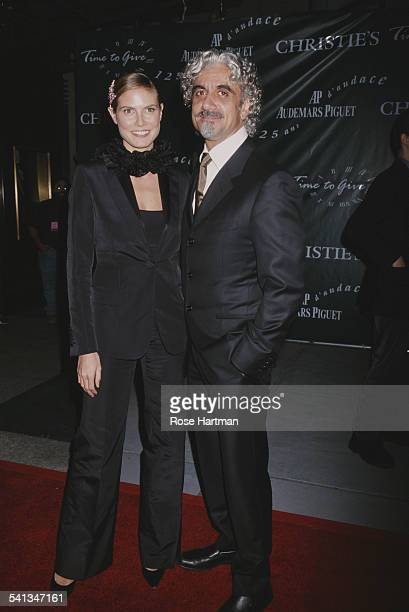 German fashion model Heidi Klum with her husband Ric Pipino at the 125th anniversary of Audemars Piguet at Christie's, New York City, 2000.