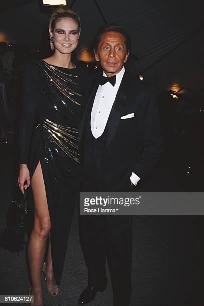 German fashion model Heidi Klum with Italian fashion designer Valentino at the Costume Institute Gala at the Metropolitan Museum of Art New York City...