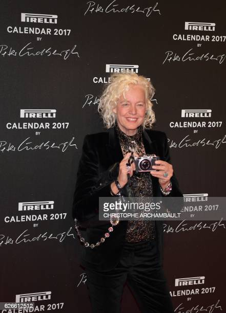 German fashion photographer Ellen von Unwerth poses during a photocall ahead of a gala dinner held for the international launch of the 2017 Pirelli...