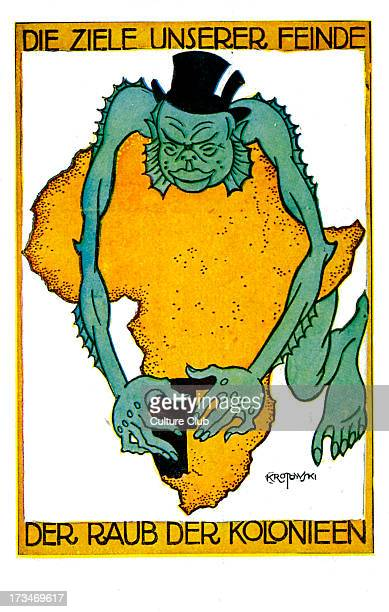 German fears of South West Africa takeover Illustration by Krotowski shows a top hatwearing sea creature making a grab for German South West Africa...