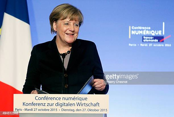 German Federal Chancellor Angela Merkel delivers a speech during the FranceGermany digital conference at the Elysee palace on October 27 2015 in...