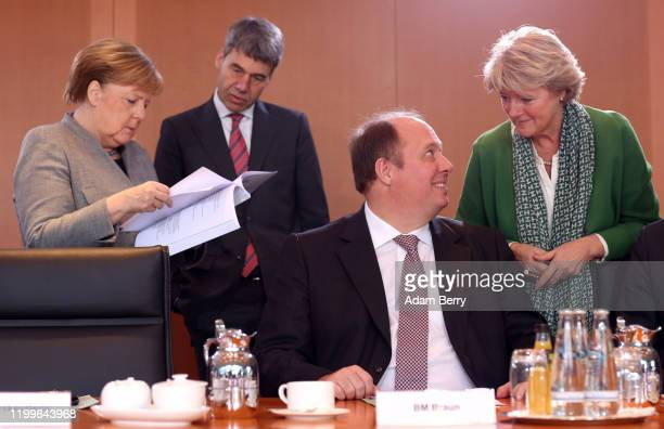 German Federal Chancellor Angela Merkel , her foreign policy advisor Jan Hecker, Chancellery Minister Helge Braun and Culture Minister Monika...