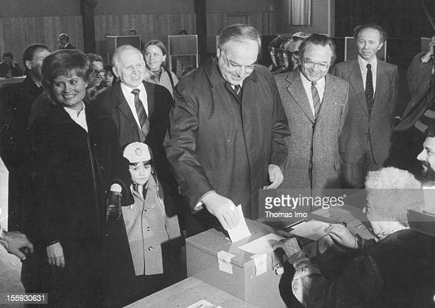 German Federal Chancellor Helmut Kohl and his wife Hannelore Kohl voting at a polling stationMarch 06 Oggersheim Germany