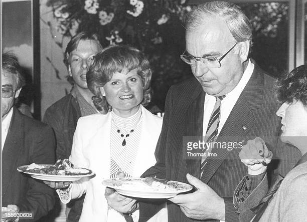 German Federal Chancellor Helmut Kohl together with his wife Hannelor Kohl at the buffet of the 23rd political convention of the Christian Democratic...