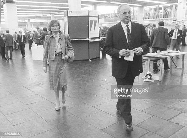 German Federal Chancellor Helmut Kohl together with his wife Hannelor Kohl at the Foyer of the Cologne Exhibition Centre May 24 Cologne Germany