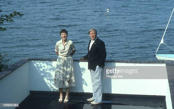 German Federal Chancellor Helmut Schmidt together with his wife Loki on vacation time August 01 Brahmsee Germany