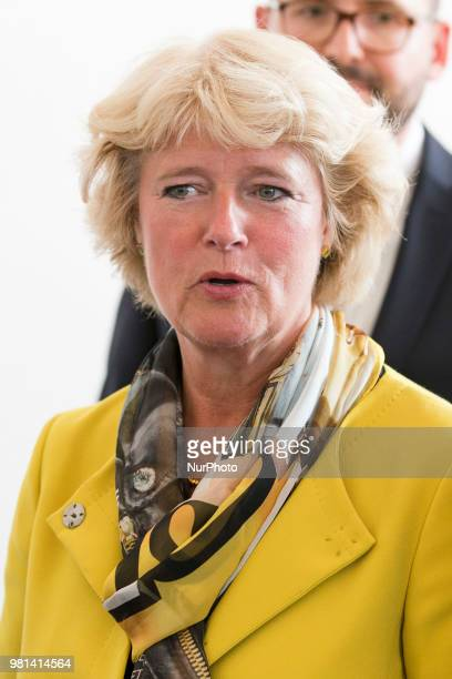 German Federal Commissioner for Culture and Media Monika Gruetters is pictured during a press conference in Berlin Germany on June 22 2018 Chatrian...