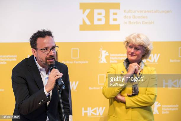 German Federal Commissioner for Culture and Media Monika Gruetters and former Italian director of Locarno Film Festival Carlo Chatrian are pictured...