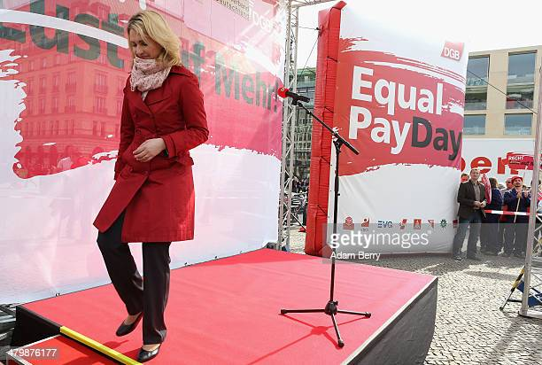 German Federal Family Minister Manuela Schwesig leaves the stage after speaking during the 'Equal Pay Day' demonstration on March 21 2014 in Berlin...
