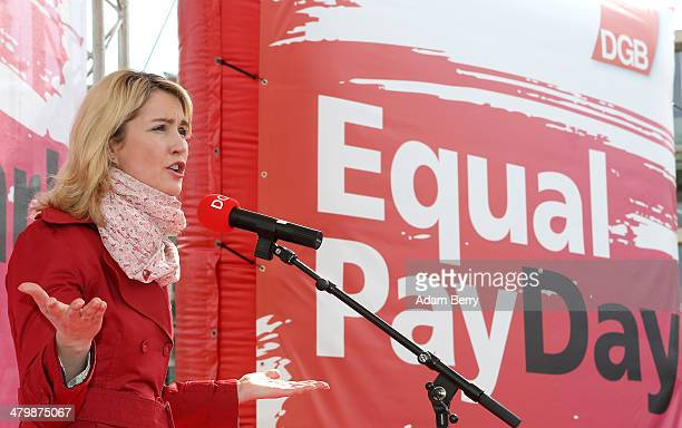 German Federal Family Minister Manuela Schwesig speaks during the 'Equal Pay Day' demonstration on March 21 2014 in Berlin Germany The annual event...