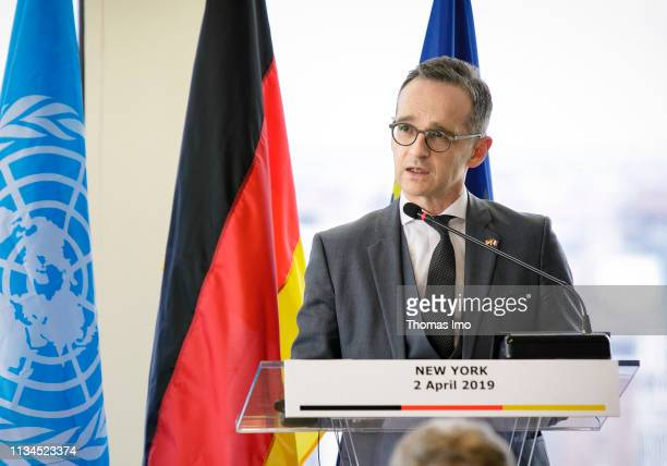 German Federal Foreign Minister Heiko Maas SPD and French Foreign Minister JeanYves Le Drian will hold a joint press conference on April 02 2019 in...