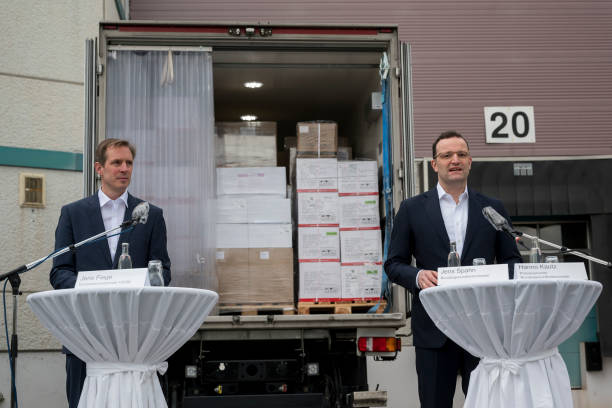 DEU: Health Minister Spahn Visits Distribution Center For Protective Gear During The Coronavirus Crisis
