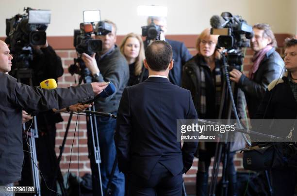 German federal justice minister Heiko Maas delivers remarks during a press conference at the Bertha von Suttner High School in Potsdam Germany...
