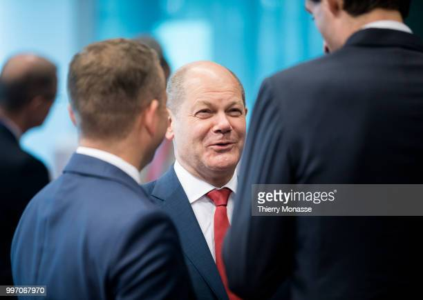 BRUSSELS BELGIUM JULY 12 German Federal Minister of Finance Olaf Scholz is talking with counterparts prior an Eurogroup Ministers meeting on july 12...
