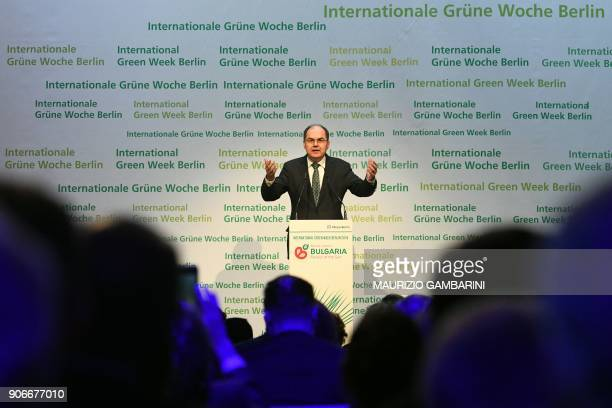 German federal minister of food and agriculture Christian Schmidt gives a speech during the launching ceremony of the International Green Week...