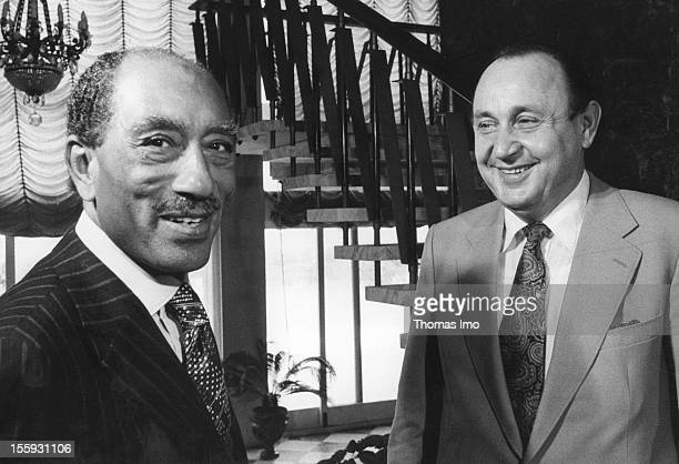 German Federal Minister of Foreign Affairs HansDietrich Genscher together with the Egyptian President Anwar Sadat September 08 Cairo Egypt