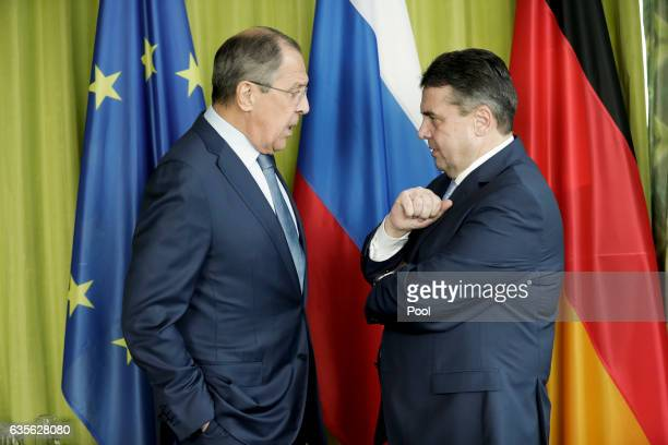 German Federal Minister of Foreign Affairs Sigmar Gabriel and Russian Minister of Foreign Affairs Sergej Lawrow speak during bilateral talks at the...