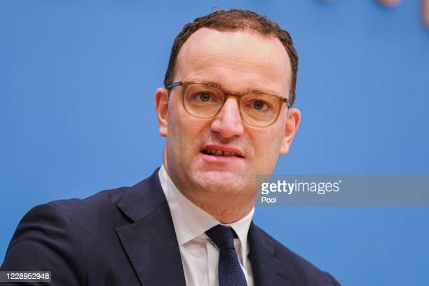 German Federal Minister of Health Jens Spahn attends a press conference for the media over the current situation during the coronavirus pandemic on...