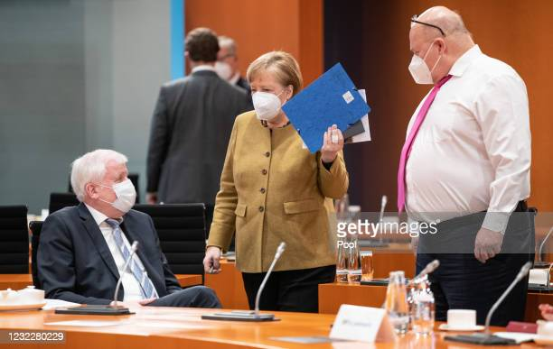 German Federal Minister of the Interior, Building and Community Horst Seehofer, Chancellor Angela Merkel and Federal Minister for Economic Affairs...