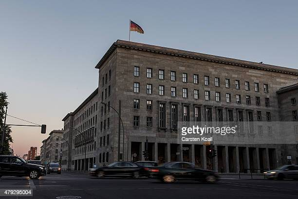 German Federal Ministry of Finance stands illuminated at dusk on July 2 2015 in Berlin Germany The online whistleblower platform Wikileaks claims to...