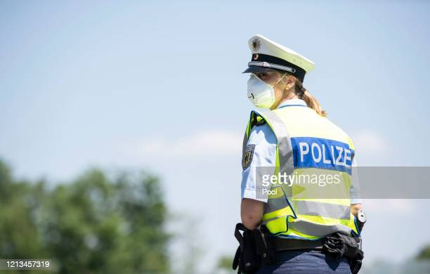 German federal police at the control station Saalbruecke between German Freilassing and Austrian Salzburg on May 18, 2020 at Freilassing, Germany....