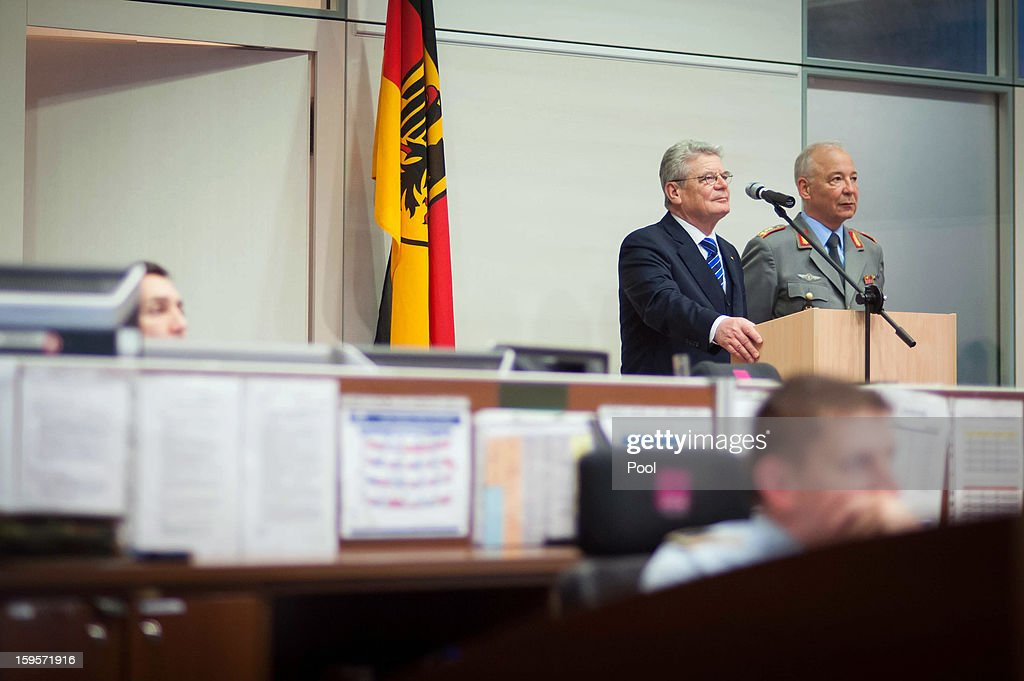 German Federal President Joachim Gauck and commander of the operational command of the armed forces, Lieutenant General Rainer Glatz, participate in a videoconference with the German soldiers in around the world, on January 16, 2013 in Potsdam, Germany.
