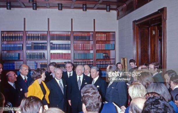 German federal president Walter Scheel welcoming German politicians at his office in Bonn Germany 1978