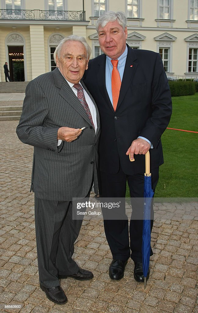 German Federation of Labour Unions (DGB) head Michael Sommer (R) and politician Egon Bahr attend the presidential summer garden party at Bellevue Palace on June 19, 2009 in Berlin, Germany. The presidential summer garden party, hosted by President Horst Koehler, is among the main Berlin social events of the year.