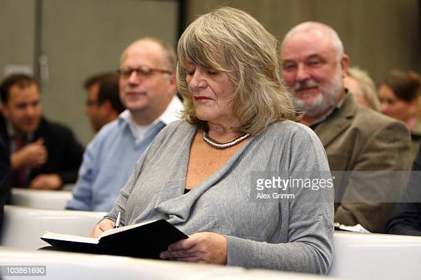 German feminist Alice Schwarzer attends the lecture of the complaint on day one of the trial against tv host and weather expert Joerg Kachelmann at...