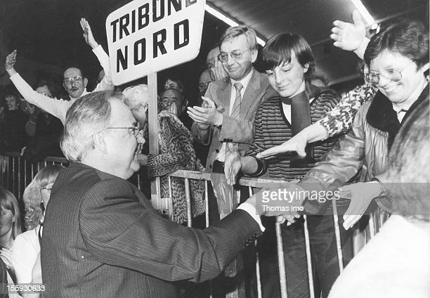 German Ferderal Chancellor Helmut Kohl at a political rally of the Christian Democratic Union shaking hands with fans at the North terrace Ferbuary...
