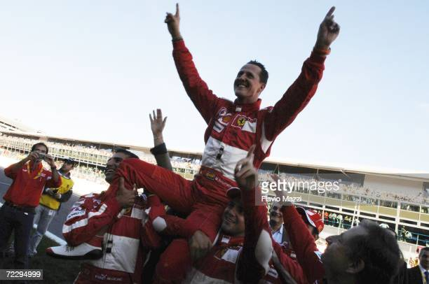 German Ferrari driver Michael Schumacher waves to fans during the Ferrari Days on October 29 2006 in Monza Italy Schumacher retired from Formula 1 at...