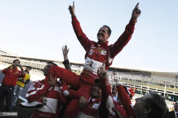 German Ferrari driver Michael Schumacher waves to fans during the Ferrari Days on October 29, 2006 in Monza, Italy. Schumacher retired from Formula 1...